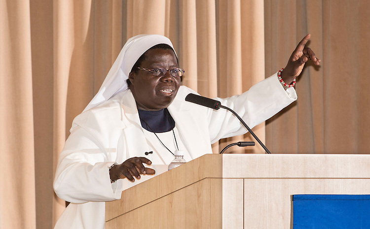 'Sewing Hope' hero Sister Rosemary Nyirumbe speaks Thursday, June 11, 2015, at DePaul University to guests during a Lincoln Park gathering hosted by the School for New Learning. Recognized as one of Time magazine's 100 most influential people, and a CNN Hero, Nyirumbe will deliver the commencement address for the School for New Learning on Saturday. (DePaul University/Jamie Moncrief)