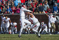 Hawgs Illustrated/BEN GOFF <br /> Connor Limpert (left), Arkansas kicker, and holder Reid Miller celebrate after making a field goal late in the fourth quarter to defeat Ole Miss Saturday, Oct. 28, 2017, at Vaught-Hemingway Stadium in Oxford, Miss.