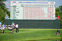 Leader Sung Hyun Park (KOR) and Amy Yang (KOR) walk past the leaderboard as they head to the 16th green during Sunday's final round of the 72nd U.S. Women's Open Championship, at Trump National Golf Club, Bedminster, New Jersey. 7/16/2017.<br /> Picture: Golffile | Ken Murray<br /> <br /> <br /> All photo usage must carry mandatory copyright credit (&copy; Golffile | Ken Murray)
