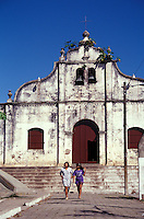 Two young women in front of the town chrch in Catarina, Pueblos Bloncos, Nicaragua