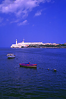 Castillo de los Tres Reyes del Morro is located on Punta Barlovento, guarding the entrance to Havana harbor. Havana, Cuba.