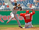 8 June 2008: San Francisco Giants' second baseman Ray Durham doubles off Washington Nationals' shortstop Cristian Guzman at Nationals Park in Washington, DC. The Giants rallied to defeat the Nationals 6-3 in their third consecutive win of the 4-game series...Mandatory Photo Credit: Ed Wolfstein Photo