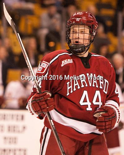 Michael Floodstrand (Harvard - 44) - The Boston College Eagles defeated the Harvard University Crimson 3-2 in the opening round of the Beanpot on Monday, February 1, 2016, at TD Garden in Boston, Massachusetts.