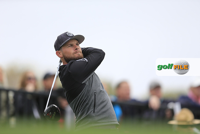Tyrrell Hatton (ENG) on the 18th tee during the final round of the Waste Management Phoenix Open, TPC Scottsdale, Scottsdale, Arisona, USA. 03/02/2019.<br /> Picture Fran Caffrey / Golffile.ie<br /> <br /> All photo usage must carry mandatory copyright credit (&copy; Golffile | Fran Caffrey)