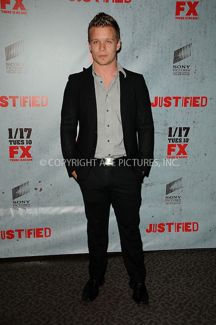 WWW.ACEPIXS.COM . . . . .  ....January 10 2012, LA....Actor Jesse Luken arriving at the premiere of 'Justified' Season 3 at the Directors Guild of America on January 10, 2012 in Los Angeles, California.....Please byline: PETER WEST - ACE PICTURES.... *** ***..Ace Pictures, Inc:  ..Philip Vaughan (212) 243-8787 or (646) 679 0430..e-mail: info@acepixs.com..web: http://www.acepixs.com