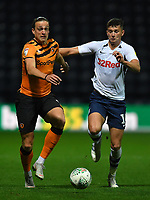 Preston North End's Jordan Storey battles with Hull City's Tom Eaves<br /> <br /> Photographer Dave Howarth/CameraSport<br /> <br /> The Carabao Cup Second Round - Preston North End v Hull City - Tuesday 27th August 2019  - Deepdale Stadium - Preston<br />  <br /> World Copyright © 2019 CameraSport. All rights reserved. 43 Linden Ave. Countesthorpe. Leicester. England. LE8 5PG - Tel: +44 (0) 116 277 4147 - admin@camerasport.com - www.camerasport.com