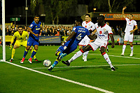AFC Wimbledon's Adedeji Oshilaja tries to keep the ball in play during the Sky Bet League 1 match between AFC Wimbledon and MK Dons at the Cherry Red Records Stadium, Kingston, England on 22 September 2017. Photo by Carlton Myrie / PRiME Media Images.