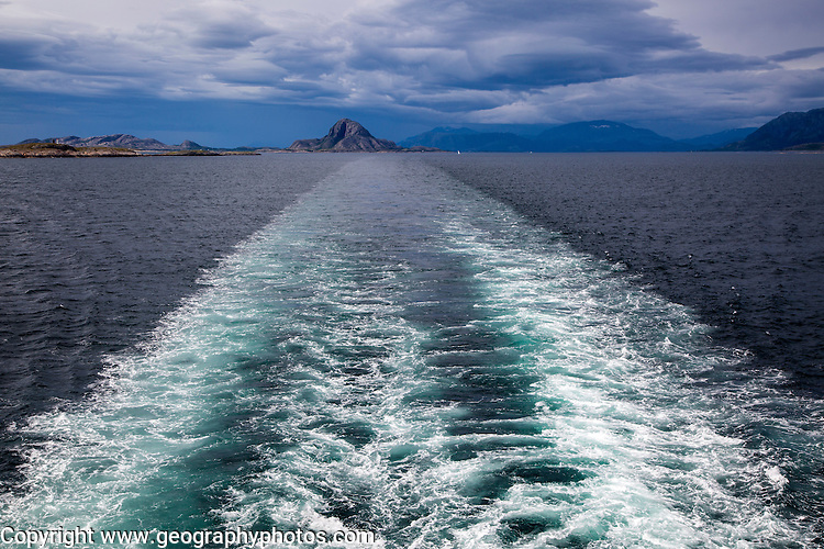 Ship's wake view to Torghatten, Torget island, Brønnøy, Nordland county, Norway
