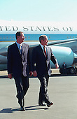 United States President George W. Bush and President Vicente Fox of Mexico at the Arrival Ceremony, El Bajio Airport, Leon, Mexico on Friday, February 16, 2001..Mandatory Credit: Paul Morse - White House via CNP