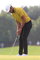 Tony Finau (USA) on the 18th green during the 2nd round of the WGC HSBC Champions, Sheshan Golf Club, Shanghai, China. 01/11/2019.<br /> Picture Fran Caffrey / Golffile.ie<br /> <br /> All photo usage must carry mandatory copyright credit (© Golffile   Fran Caffrey)