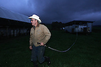 Joel Salatin uses a hose to connect water to his mobile chicken coup allowing the chickens to drink after moving them to a new field October 20, 2006 at the Polyface Farm in Staunton, Va. ..Photo by Andrew B. Shurtleff, Freelance. farmer