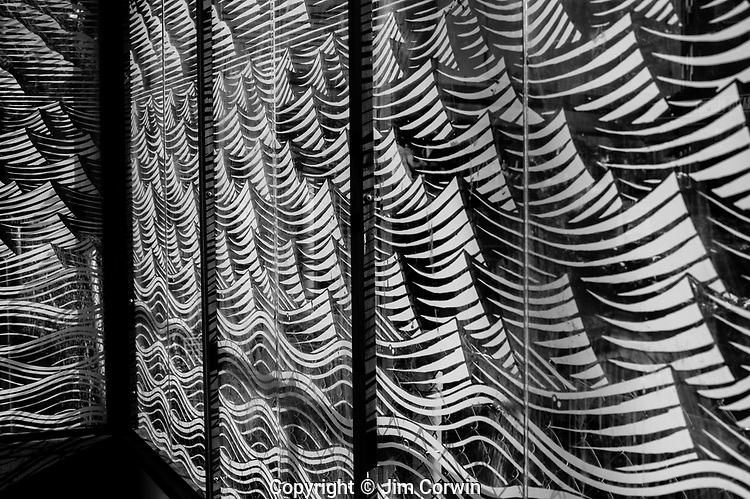 Bus Stop interior with wave patterns on glass visual art