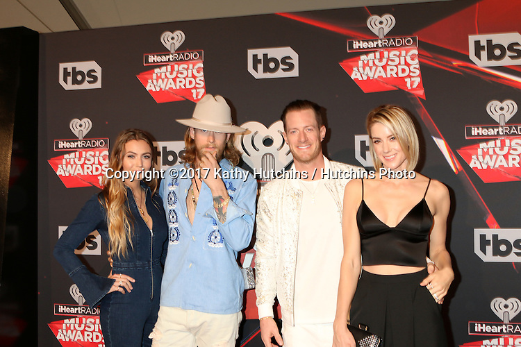 LOS ANGELES - MAR 5:  Brittney Marie Cole, Brian Kelley, Tyler Hubbard, Hayley Stommel at the 2017 iHeart Music Awards at Forum on March 5, 2017 in Los Angeles, CA