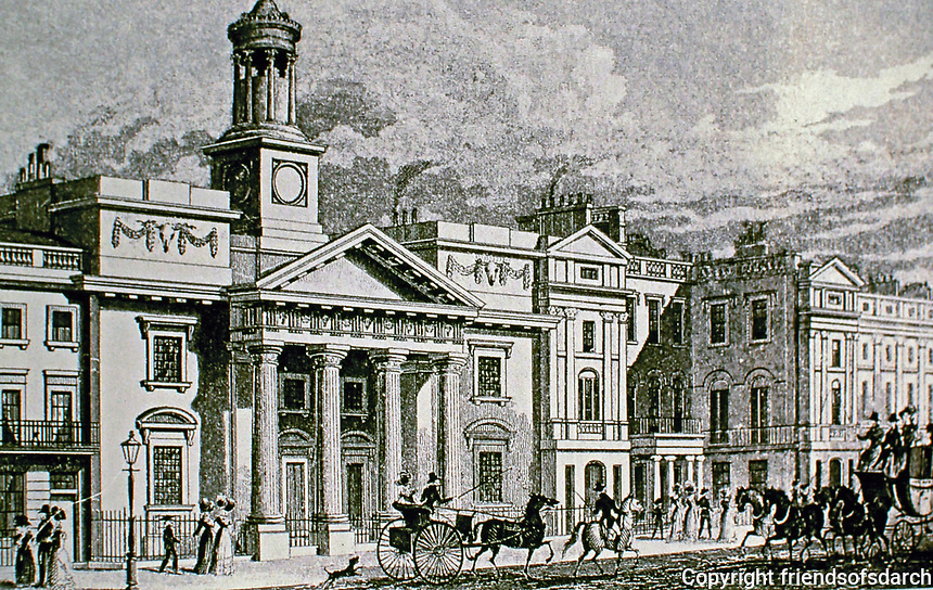 """St. Philip's Chapel. Built by George Stanley Repton in 1819-1820 and demolished in 1904. A steel engraving with hand colouring by<br /> ArtistWilliam Tombleson after Thomas H. Shepherd. From Shepherd's series """"Metropolitan Improvements; or London in the Nineteenth Century"""" (London : 1827-1830)."""