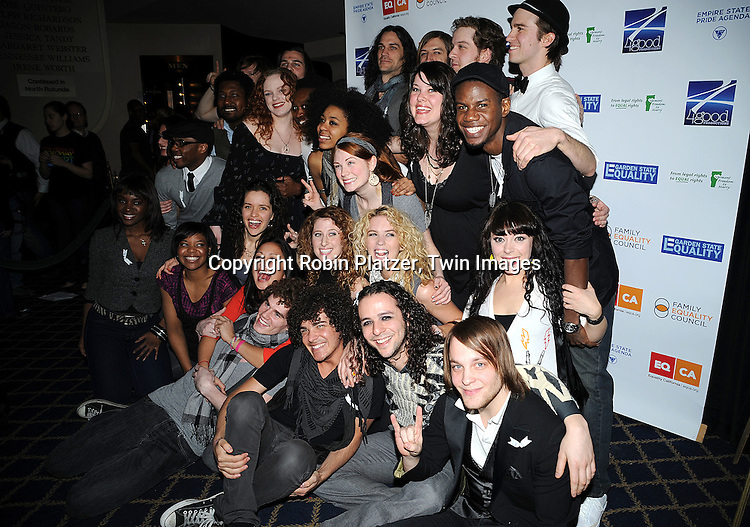"""cast of """"Hair""""..posing for photographers at """"Defying Inequality"""" The Broadway Concert on February 23, 2009 at The Gershwin Theatre in New York City. The concert was a benefit for Equal Rights for gay people to be able to marry. ....Robin Platzer, Twin Images"""