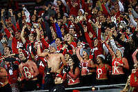 The Ohio State Buckeyes Block O student section cheers during the fourth quarter of the NCAA football game against the Nebraska Cornhuskers at Ohio Stadium in Columbus on Nov. 5, 2016. Ohio State won 62-3. (Adam Cairns / The Columbus Dispatch)