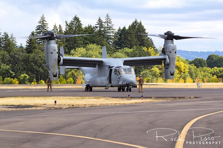A USMC Bell V-22 Osprey prepares for flight in Hillsboro, Oregon