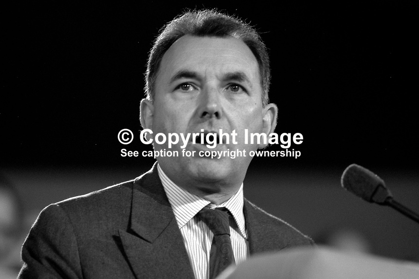 John Horam, former SDP MP, addressing annual conference, Conservative Party, UK, 19871036JH2.<br /> <br /> Copyright Image from Victor Patterson,<br /> 54 Dorchester Park, <br /> Belfast, UK, BT9 <br /> <br /> t1: +44 28 9066 1296 (from Rep of Ireland 048 90661296)<br /> t2: +44 28 9002 2446 (from Rep of Ireland 048 9002 2446)<br /> <br /> m: +44 7802 353836<br /> <br /> e: victorpatterson@me.com<br /> www.victorpatterson.com<br /> <br /> Please see my Terms and Conditions of Use at www.victorpatterson.com. It is IMPORTANT that you familiarise yourself with them.<br /> <br /> Images used on the Internet must be visibly watermarked i.e. &copy; Victor Patterson<br /> within the body of the image and copyright metadata must not be deleted. Images <br /> used on the Internet have a size restriction of 4kbs and will be chargeable at current<br />  NUJ rates unless agreed otherwise.<br /> <br /> This image is only available for the use of the recipient i.e. television station, newspaper, magazine, book publisher, etc, and must not be passed on to any third party. It is also downloaded on condition that each and every usage is notified within 7 days to victorpatterson@me.com<br /> <br /> The right of Victor Patterson to be identified as the author is asserted in accordance with The Copyright Designs And Patents Act (1988). All moral rights are asserted.