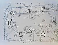 Blaise Hamlet Plan by John Nash, 1810-11. 9 cottages built for retired employees of Quaker banker and philanthropist John Scandrett Harford.<br /> West Bristol, England.
