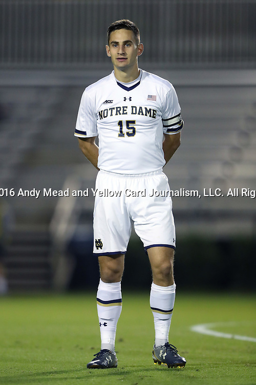 21 October 2016: Notre Dame's Evan Panken. The Duke University Blue Devils hosted the University of Notre Dame Fighting Irish at Koskinen Stadium in Durham, North Carolina in a 2016 NCAA Division I Men's Soccer match. Duke won the game 2-1 in two overtimes.