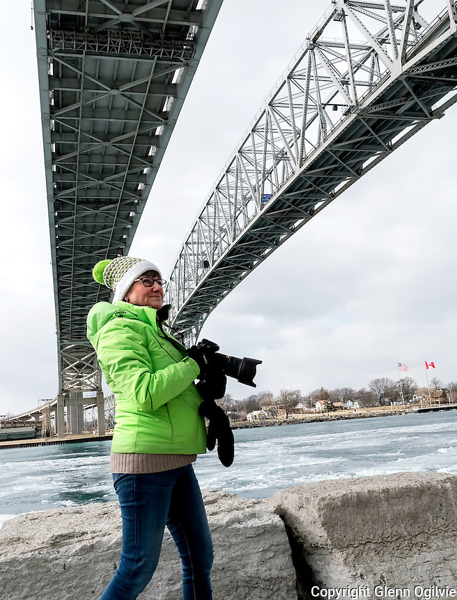 Kathryn Howard, formerly Picknell, was in Sarnia recently and couldn't resist a visit to the Blue Water Bridge. The Mississauga resident grew up in Sarnia, moving away as a teenager. She fought off bitter cold winds to document her visit.
