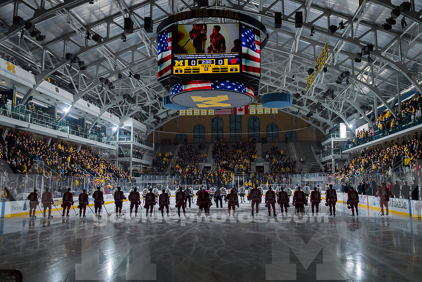 The University of Michigan men's ice hockey team,7-4, victory over Wisconsin during the first round of the Big Ten Tournament at Yost Ice Arena in Ann Arbor, Mich., on March 3, 2018.