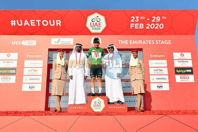 Caleb Ewan (AUS) Lotto-Soudal retains the Green Jersey at the end of Stage 3 The Emirates Stage of the UAE Tour 2020 running 184km from Al Qudra Cycle Track to Jebel Hafeet, Dubai. 25th February 2020.<br /> Picture: LaPresse/Massimo Paolone | Cyclefile<br /> <br /> All photos usage must carry mandatory copyright credit (© Cyclefile | LaPresse/Massimo Paolone)