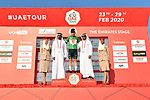 Caleb Ewan (AUS) Lotto-Soudal retains the Green Jersey at the end of Stage 3 The Emirates Stage of the UAE Tour 2020 running 184km from Al Qudra Cycle Track to Jebel Hafeet, Dubai. 25th February 2020.<br /> Picture: LaPresse/Massimo Paolone   Cyclefile<br /> <br /> All photos usage must carry mandatory copyright credit (© Cyclefile   LaPresse/Massimo Paolone)