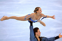 November 19, 2005; Paris, France; Figure skating stars VALERIE MARCOUX and CRAIG BUNTIN of Canada skate to bronze in pairs at Trophee Eric Bompard, ISU Paris Grand Prix competition.  They are one of the pairs favorites for medals leading up to Torino 2006 Olympics.<br />Mandatory Credit: Tom Theobald/<br />Copyright 2005 Tom Theobald