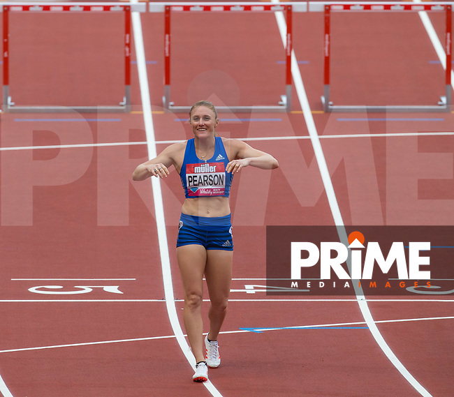 Sally PEARSON of Australia smiles after her 12.48 SB in the 100m Hurdles during the IAAF Diamond League Muller London Anniversary Games 2017 at the Queen Elizabeth Park, Olympic Park, London, England on 9 July 2017.  Photo by Andy Rowland.