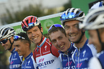 Luxembourg National Champion Bob Jungels (LUX) and Quick-Step Floors team at sign on before the start of the 111th edition of Il Lombardia 2017 &quot; The Race of the Falling Leaves&quot; the final monument of the season, running 247km from Bergamo to Como, Italy. 7th October 2017.<br /> Picture: LaPresse/Fabio Ferrari | Cyclefile<br /> <br /> <br /> All photos usage must carry mandatory copyright credit (&copy; Cyclefile | LaPresse/Fabio Ferrari)
