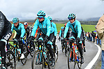 The peloton including Davide Formolo (ITA) Bora-Hansgrohe and Jakob Fuglsang (DEN) Astana Pro Team, during a wet miserable 105th edition of Liège-Bastogne-Liège 2019, La Doyenne, running 256km from Liege to Liege, Belgium. 28th April 2019<br /> Picture: Colin Flockton | Cyclefile<br /> All photos usage must carry mandatory copyright credit (© Cyclefile | Colin Flockton)