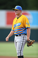 Andrew Vaughn (12) of Los Rapidos de Kannapolis in action during a game against Las Llamas de Hickory at L.P. Frans Stadium on July 17, 2019 in Hickory, North Carolina. The Llamas defeated the Rapidos 7-5. (Tracy Proffitt/Four Seam Images)