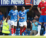 Frederic Piquionne (R) celebrates his goal for Portsmouth
