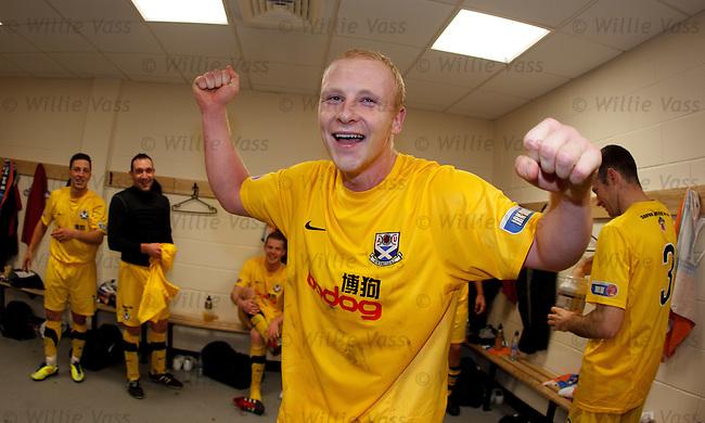 Ayr Utd goalscorer Chris Smith gives it large in the dressing room