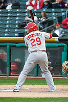 Jonathan Rodriguez (29) of the Memphis Redbirds at bat against the Salt Lake Bees in Pacific Coast League action at Smith's Ballpark on May 24, 2016 in Salt Lake City, Utah. The Bees defeated the Redbirds 7-5. (Stephen Smith/Four Seam Images)