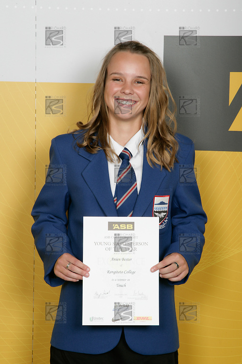 Girls Touch winner Anien Bester. ASB College Sport Young Sportperson of the Year Awards 2007 held at Eden Park on November 15th, 2007.