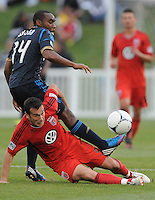 D.C. United forward Hamdi Salihi (9) gets fouled by Philadelphia Union defender Amobi Okugo (14) The Philadelphia Union defeated D.C. United 2-1in extra time at the round of sixteen of the Lamar Hunt U.S. Open Cup at The Maryland SoccerPlex, Tuesday June 6, 2012.