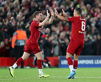 27th November 2019; Anfield, Liverpool, Merseyside, England; UEFA Champions League Football, Liverpool versus SSC Napoli ; Dejan Lovren of Liverpool is congratulated by team mate James Milner after scoring the equalising goal  - Editorial Use