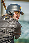 22 March 2015: Pittsburgh Pirates outfielder Jaff Decker awaits his turn in the batting cage prior to a Spring Training game against the Houston Astros at Osceola County Stadium in Kissimmee, Florida. The Astros defeated the Pirates 14-2 in Grapefruit League play. Mandatory Credit: Ed Wolfstein Photo *** RAW (NEF) Image File Available ***