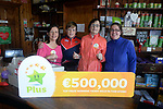 21-9-2017:  Mary Murphy, Post Mistress, Rerrin Post Office on Bere Island in County Cork pictured in her shop with Edel Murphy, Brendain Murphy and Anne Marie Harrington on Thursday after she sold a 500,000 Euro Millions Plus ticket.<br /> Photo: Don MacMonagle<br /> <br /> Issued on behlf of The National Lottery
