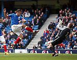 Peterhead keeper Graeme Smith saves point blank from Rangers striker Lee McCulloch