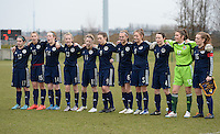 20150226 - Tubize , Belgium : Team Scotland pictured with Chantelle Brown (17) , Ellis Dalgliesh (15) , Kirsty Fraser (14) , Lauren Doran-Barr (13) , Brogan Hay (11) , Kirsty Hanson (9) , Samantha Kerr (6) , Amy Lynch (5) , Cailin Michie (4) , Eartha Cumings (12) and Erin Cuthbert (16) during the friendly female soccer match between Women under 17 teams of  Belgium and Scotland  . Thursday 26th February 2015 . PHOTO DAVID CATRY