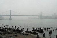 Manhattan Bridge and East River Viewed from Manhattan on a Foggy Afternoon, New York City, New York State, USA