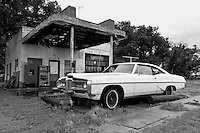 1968 Pontiac Bonneville eternally waits for a fill up at the Glenrio Texaco station on the Texas side of town along Route 66. Glenrio straddled the Texas-New Mexico state line and thrived through the 40's, 50's, and 60's until the Interstate bypassed the town in 1975.