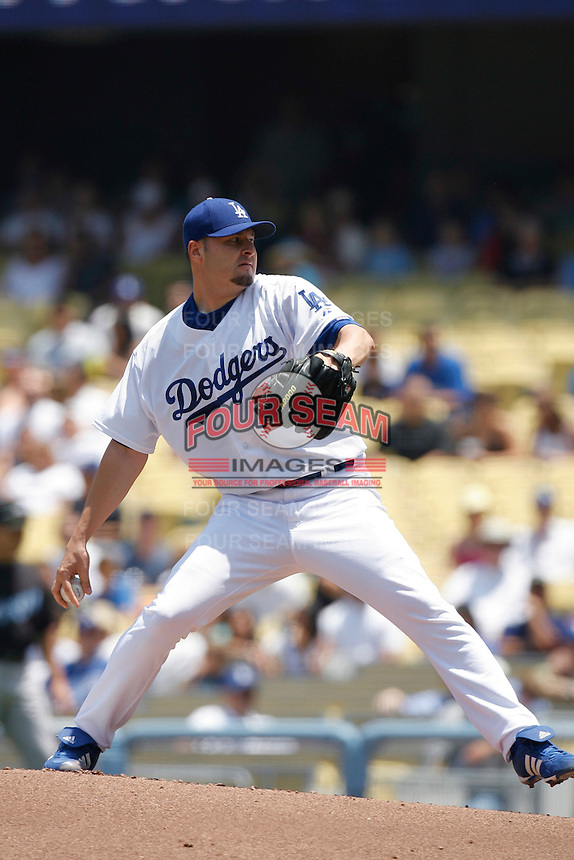 Jason Schmidt of the Los Angeles Dodgers during a 2007 MLB season game at Dodger Stadium in Los Angeles, California. (Larry Goren/Four Seam Images)