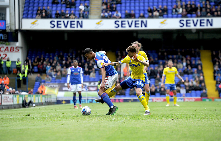Leeds United's Mateusz Klich battles with Ipswich Town's Myles Kenlock<br /> <br /> Photographer Hannah Fountain/CameraSport<br /> <br /> The EFL Sky Bet Championship - Ipswich Town v Leeds United - Sunday 5th May 2019 - Portman Road - Ipswich<br /> <br /> World Copyright © 2019 CameraSport. All rights reserved. 43 Linden Ave. Countesthorpe. Leicester. England. LE8 5PG - Tel: +44 (0) 116 277 4147 - admin@camerasport.com - www.camerasport.com