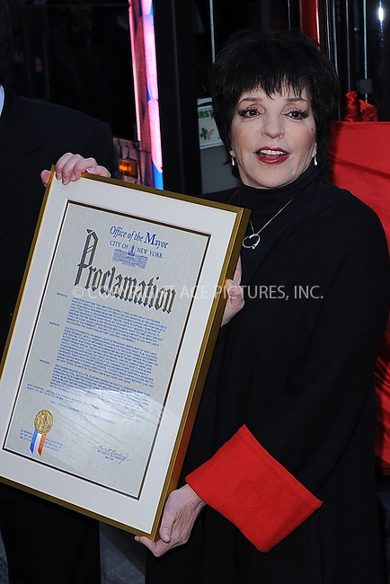WWW.ACEPIXS.COM . . . . . .March 8, 2011...New York City..Liza Minnelli honored in Gray Line New York's Ride of Fame Campaign.Times Square on March 8, 2011 in New York City....Please byline: KRISTIN CALLAHAN - ACEPIXS.COM.. . . . . . ..Ace Pictures, Inc: ..tel: (212) 243 8787 or (646) 769 0430..e-mail: info@acepixs.com..web: http://www.acepixs.com .