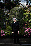 Tokyo, April 14 2014 - Portrait of Kenzaburo Oe in front of his home.