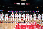 "Wisconsin Badgers line up during the National Anthem honoring the late Albert ""Ab"" Nicholas #8 prior to an NCAA Big Ten Conference men's college basketball game against the Ohio State Buckeyes Thursday, January 12, 2017, in Madison, Wisconsin. The Badgers won 89-66. (Photo by David Stluka)"